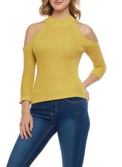 Cold Shoulder Knit Sweater - 1403054218913
