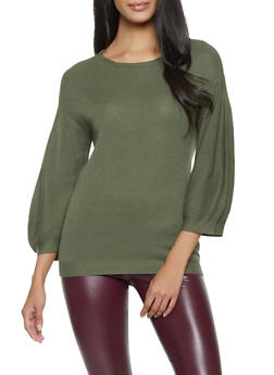 Bubble Sleeve Sweater - 1403061350006