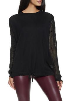 Drawstring Hem Sweater - 1403061350008