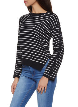 Button Detail Striped Sweater - BLACK - 1403061350051