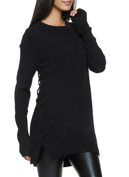 Lace Up Side Tunic Sweater - 1403061350054