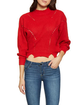Mock Neck Cropped Sweater - 1403061350063