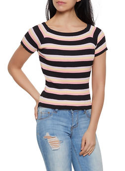 Off the Shoulder Striped Short Sleeve Sweater - 1403061350873