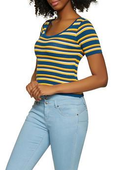 Striped Short Sleeve Sweater - 1403061350874