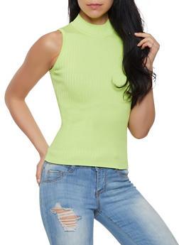 Sleeveless Mock Neck Sweater - 1403061350951