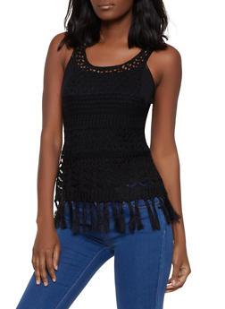 Fringe Crochet Tank Top - 1403061354354