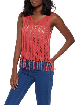 Crochet Fringe Tank Top   1403061358099 - 1403061358099