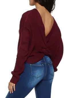 Twist Back Long Sleeve Sweater - 1403062702770