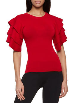 Tiered Short Sleeve Sweater - 1403062702771