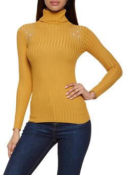 Studded Detail Turtleneck Sweater - 1403062702773