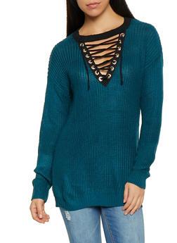 Lace Up V Neck Tunic Sweater - 1403062707076