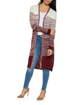 Open Front Marled Knit Cardigan - 1403062707096