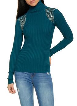 Studded Shoulder Turtleneck Sweater - 1403062707097