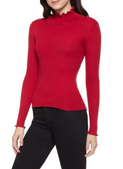 Lettuce Edge Mock Neck Sweater - 1403068191235