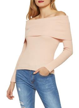 Fold Over Off the Shoulder Sweater - 1403068191498