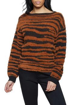 Zebra Print Eyelash Knit Sweater - 1403069390602