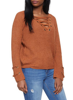 Lace Up V Neck Sweater - 1403069391507
