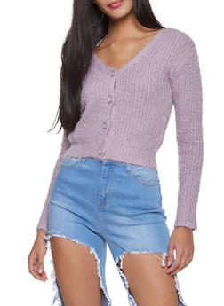 Feathered Knit Cropped Cardigan - 1403069391589