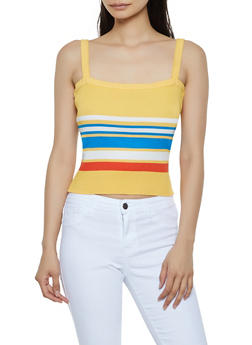 Striped Rib Knit Cropped Tank Top - 1403069391652