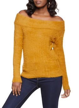 Off the Shoulder Eyelash Knit Sweater - 1403069391749