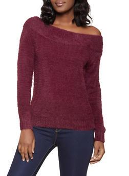 Off the Shoulder Eyelash Knit Sweater - 1403069391749