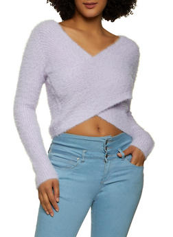 Eyelash Knit Criss Cross Sweater - 1403069391808