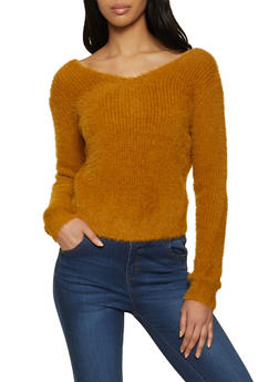 Eyelash Knit Twist Back Sweater - 1403069391810