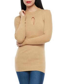 Rib Knit Keyhole Tunic Sweater - 1403072290094