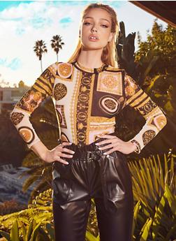 Printed Mesh Thong Bodysuit - 1405054211012