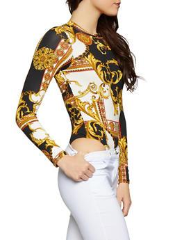 Printed Thong Bodysuit - 1405061353027