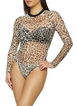 Leopard Mesh Bodysuit - 1405061358830