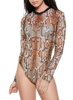 Long Sleeve Snake Print Mesh Bodysuit - 1405061358832