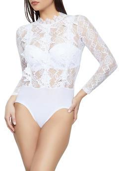 Mock Neck Lace Bodysuit - 1405062703064