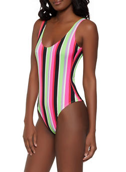 Neon Striped Thong Bodysuit - 1405063404092