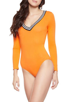 Striped Knit Trim Bodysuit - 1405066492561