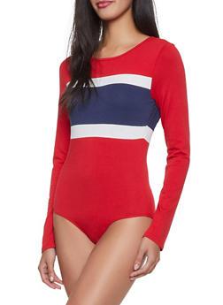 Long Sleeve Color Block Bodysuit - 1405066493017