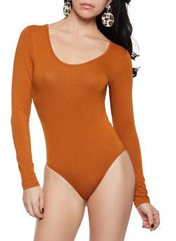 Long Sleeve Scoop Neck Bodysuit - 1405066493380