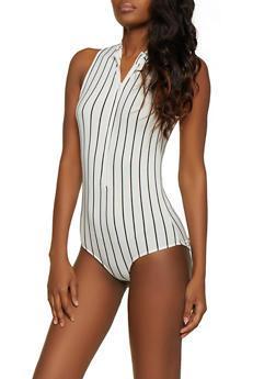 Striped Zip Mock Neck Bodysuit - 1405066493750