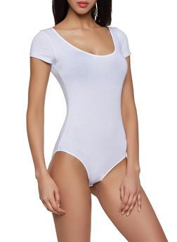Solid Scoop Neck Bodysuit - 1405066497899
