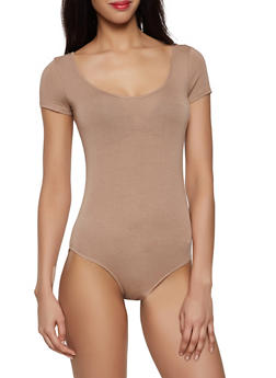 Solid Scoop Neck Bodysuit - 1405066497899