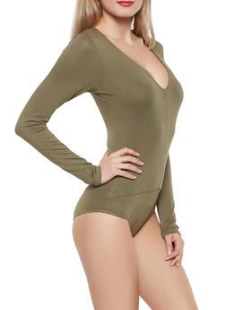 V Neck Long Sleeve Bodysuit - 1405068193179