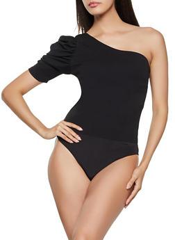 Puffed One Shoulder Bodysuit - 1405068194009