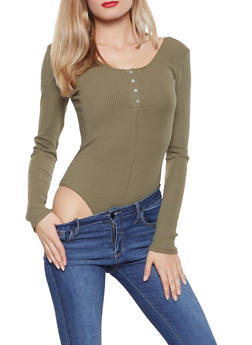 Long Sleeve Rib Knit Bodysuit - 1405068197273