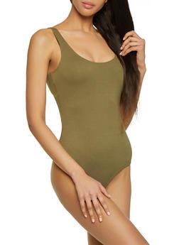 Sleeveless Ponte Tank Bodysuit - 1405068197347