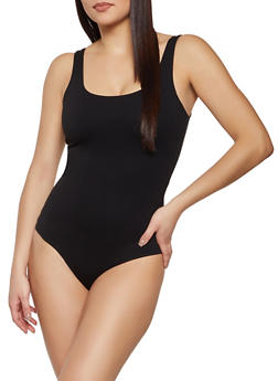 Scoop Neck Ponte Bodysuit - 1405068197374