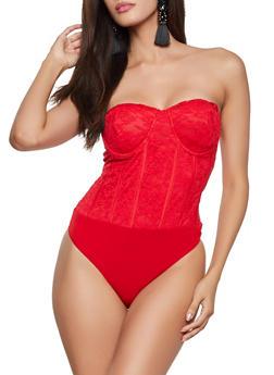 Lace Bustier Bodysuit - 1405069390154