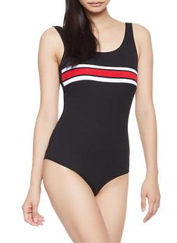 Striped Trim Rib Knit Bodysuit - 1405069390552