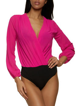 Chiffon Faux Wrap Bodysuit - 1405069390660