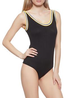 Striped Trim Thong Bodysuit - 1405069391072