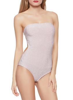 Glitter Knit Tube Bodysuit - 1405069391325